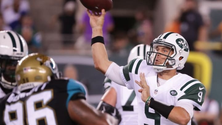 Aug 11, 2016; East Rutherford, NJ, USA; New York Jets quarterback Bryce Petty (9) throws a pass during the second half of the preseason game against the Jacksonville Jaguars at MetLife Stadium. The Jets won, 17-23. Mandatory Credit: Vincent Carchietta-USA TODAY Sports