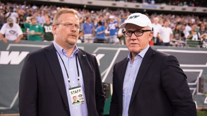 Aug 27, 2016; East Rutherford, NJ, USA; New York Jets GM Mike Maccagnan talks with New York Jets Owner Woody Johnson in the 1st half at MetLife Stadium. Mandatory Credit: William Hauser-USA TODAY Sports