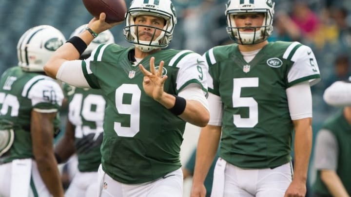 Sep 1, 2016; Philadelphia, PA, USA; New York Jets quarterback Bryce Petty (9) and quarterback Christian Hackenberg (5) prior to action against the Philadelphia Eagles at Lincoln Financial Field. Mandatory Credit: Bill Streicher-USA TODAY Sports