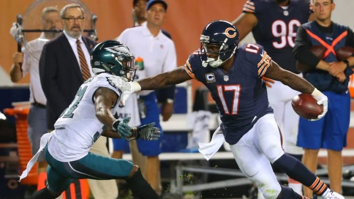 Sep 19, 2016; Chicago, IL, USA; Chicago Bears wide receiver Alshon Jeffery (17) carries the ball as Philadelphia Eagles free safety Jalen Mills (31) defends during the second half at Soldier Field. Philadelphia won 29-14. Mandatory Credit: Dennis Wierzbicki-USA TODAY Sports