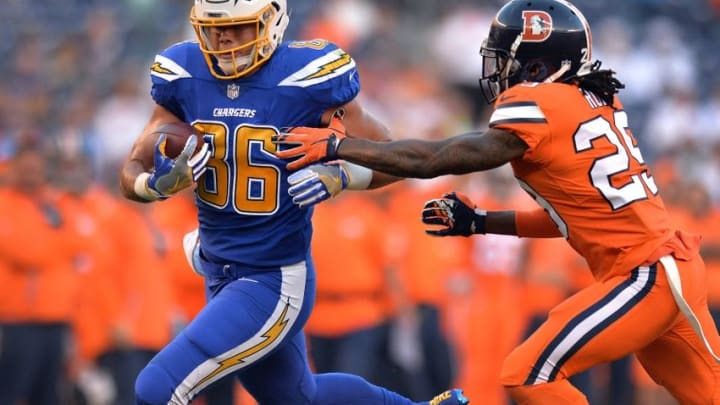 Oct 13, 2016; San Diego, CA, USA; San Diego Chargers tight end Hunter Henry (86) is defended by Denver Broncos free safety Bradley Roby (29) during the first quarter at Qualcomm Stadium. Mandatory Credit: Jake Roth-USA TODAY Sports