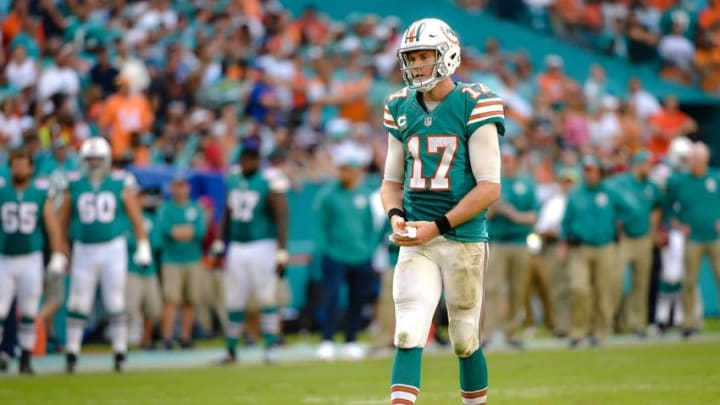 Oct 23, 2016; Miami Gardens, FL, USA; Miami Dolphins quarterback Ryan Tannehill (17) reacts during the second half against the Buffalo Bills at Hard Rock Stadium. The Dolphins won 28-25. Mandatory Credit: Steve Mitchell-USA TODAY Sports