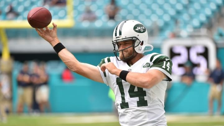 Nov 6, 2016; Miami Gardens, FL, USA; New York Jets quarterback Ryan Fitzpatrick (14) warms up before the game against the Miami Dolphins at Hard Rock Stadium. Mandatory Credit: Jasen Vinlove-USA TODAY Sports