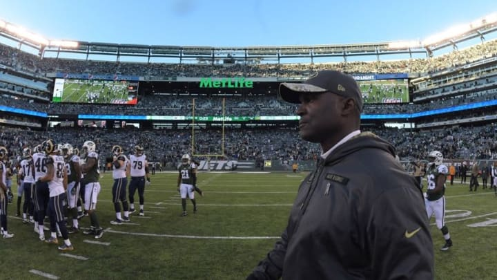 Nov 13, 2016; East Rutherford, NJ, USA; New York Jets coach Todd Bowles walks off the field after a NFL football game against the Los Angeles Rams at MetLife Stadium. The Rams defeated the Jets 9-6. Mandatory Credit: Kirby Lee-USA TODAY Sports