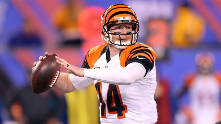 Nov 14, 2016; East Rutherford, NJ, USA; Cincinnati Bengals quarterback Andy Dalton (14) throws a pass against the New York Giants during the second quarter at MetLife Stadium. Mandatory Credit: Brad Penner-USA TODAY Sports