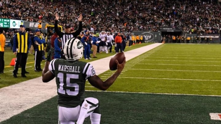 Nov 27, 2016; East Rutherford, NJ, USA; New York Jets wide receiver Brandon Marshall (15) celebrates after catching a touchdown pass in front of New England Patriots cornerback Malcolm Butler (not pictured) at MetLife Stadium. Mandatory Credit: Robert Deutsch-USA TODAY Sports
