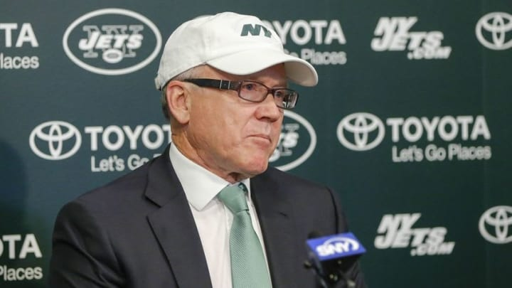 Dec 29, 2014; Florham Park, NJ, USA; New York Jets chairman and chief executive officer Woody Johnson addresses the media regarding the dismissal of general manager John Idzik (not pictured) and head coach Rex Ryan (not pictured) at the Atlantic Health Jets Training Center. Mandatory Credit: Jim O