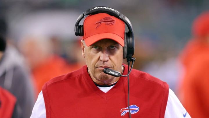 Nov 12, 2015; East Rutherford, NJ, USA; Buffalo Bills head coach Rex Ryan just before opening kickoff against the New York Jets at MetLife Stadium. Mandatory Credit: Brad Penner-USA TODAY Sports