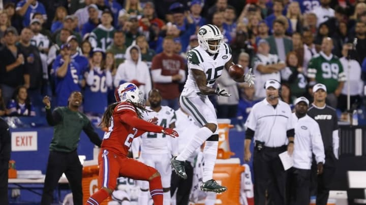 Sep 15, 2016; Orchard Park, NY, USA; New York Jets wide receiver Brandon Marshall (15) jumps to try and make a catch as Buffalo Bills cornerback Ronald Darby (28) defends during the second half at New Era Field. The Jets beat the Bills 37-31. Mandatory Credit: Timothy T. Ludwig-USA TODAY Sports
