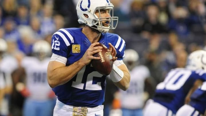 Nov 20, 2016; Indianapolis, IN, USA; Indianapolis Colts quarterback Andrew Luck (12) drops back to pass against the Tennessee Titans at Lucas Oil Stadium. Mandatory Credit: Thomas J. Russo-USA TODAY Sports