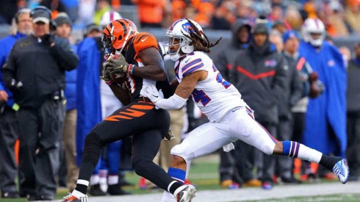 Nov 20, 2016; Cincinnati, OH, USA; Cincinnati Bengals wide receiver Brandon LaFell (11) is pushed out of bounds by Buffalo Bills cornerback Stephon Gilmore (24) after making a catch in the second half at Paul Brown Stadium. The Bills won 16-12. Mandatory Credit: Aaron Doster-USA TODAY Sports