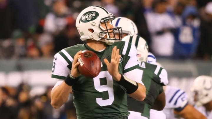 Dec 5, 2016; East Rutherford, NJ, USA; New York Jets quarterback Bryce Petty (9) looks to pass the ball against the Indianapolis Colts during the second half at MetLife Stadium. The Colts defeated the Jets 41-10. Mandatory Credit: Ed Mulholland-USA TODAY Sports