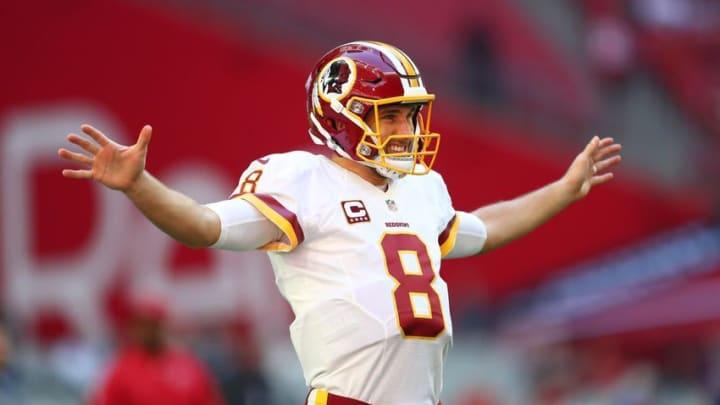 Dec 4, 2016; Glendale, AZ, USA; Washington Redskins quarterback Kirk Cousins (8) reacts against the Arizona Cardinals at University of Phoenix Stadium. Mandatory Credit: Mark J. Rebilas-USA TODAY Sports