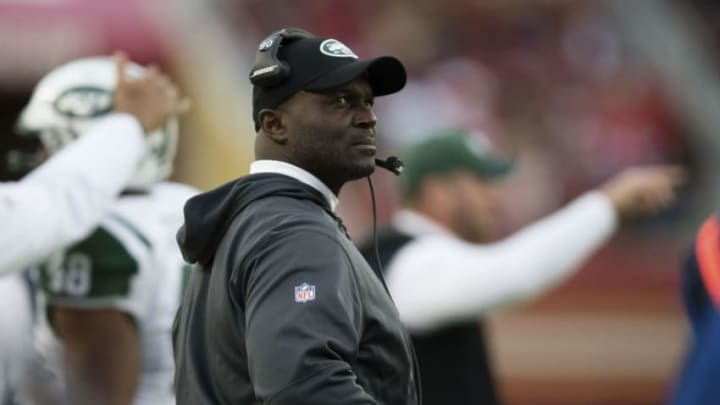 Dec 11, 2016; Santa Clara, CA, USA; New York Jets head coach Todd Bowles on the sideline during the fourth quarter against the San Francisco 49ers at Levi