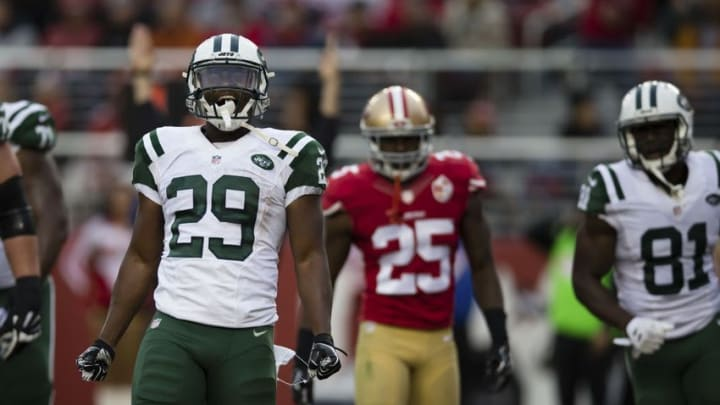 Dec 11, 2016; Santa Clara, CA, USA; New York Jets running back Bilal Powell (29) celebrates after scoring a touchdown against the San Francisco 49ers during the fourth quarter at Levi