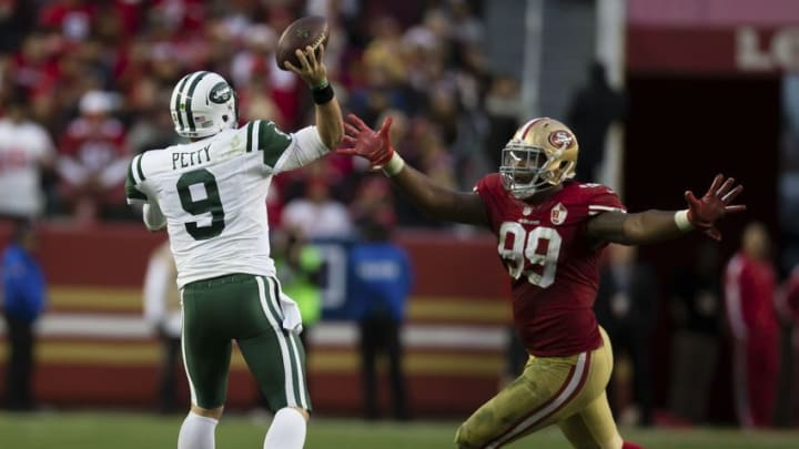 Dec 11, 2016; Santa Clara, CA, USA; New York Jets quarterback Bryce Petty (9) throws the ball against San Francisco 49ers defensive end DeForest Buckner (99) during the overtime period at Levi