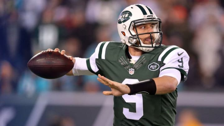 Dec 17, 2016; East Rutherford, NJ, USA; New York Jets quarterback Bryce Petty (9) looks to pass against the Miami Dolphins during the first quarter at MetLife Stadium. Mandatory Credit: Brad Penner-USA TODAY Sports