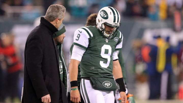 Dec 17, 2016; East Rutherford, NJ, USA; New York Jets quarterback Bryce Petty (9) leaves the field after sustaining an injury against the Miami Dolphins during the fourth quarter at MetLife Stadium. Mandatory Credit: Brad Penner-USA TODAY Sports