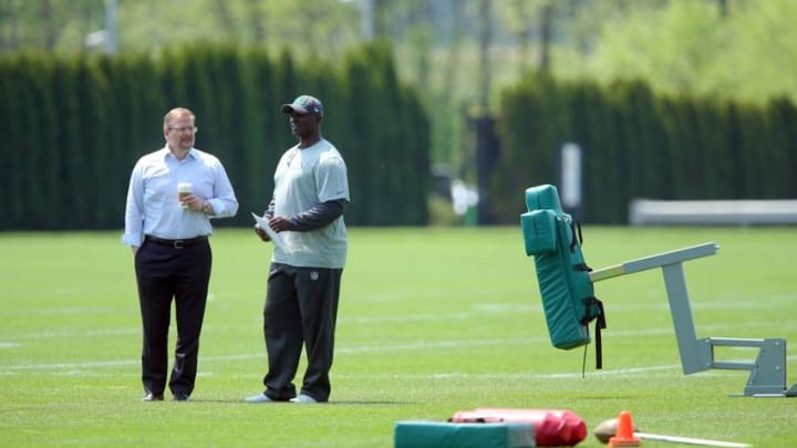 May 8, 2015; Florham Park, NY, USA; New York Jets general manager Mike Maccagnan (left) and head coach Todd Bowles watch rookie minicamp at the Atlantic Health Jets Training Center. Mandatory Credit: Brad Penner-USA TODAY Sports