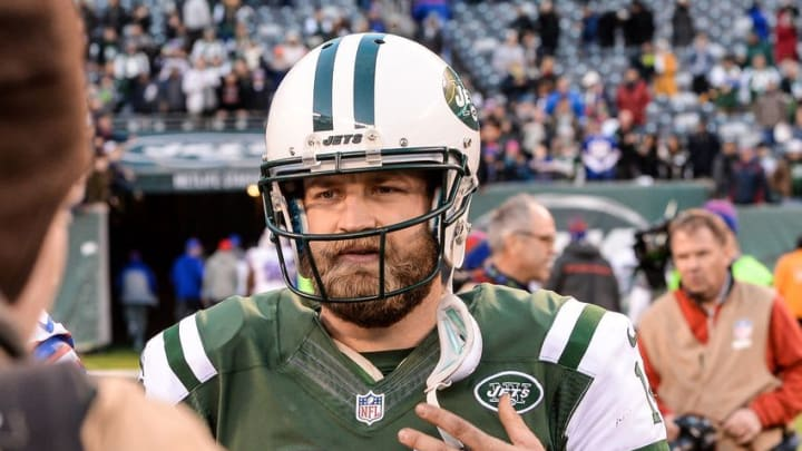 Jan 1, 2017; East Rutherford, NJ, USA; New York Jets quarterback Ryan Fitzpatrick (14) walks off the field after the game against Buffalo Bills at MetLife Stadium. Mandatory Credit: Dennis Schneidler-USA TODAY Sports