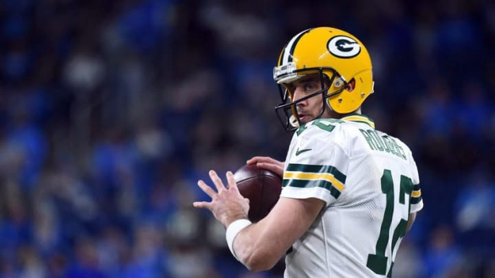 Jan 1, 2017; Detroit, MI, USA; Green Bay Packers quarterback Aaron Rodgers (12) warms up before the game against the Detroit Lions at Ford Field. Mandatory Credit: Tim Fuller-USA TODAY Sports