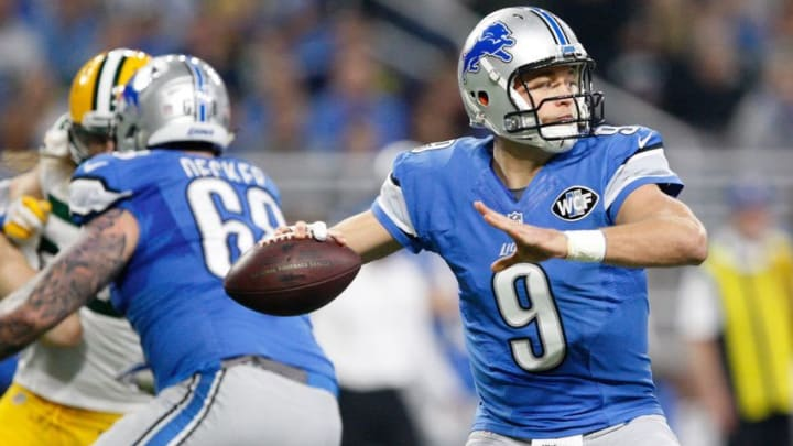 Jan 1, 2017; Detroit, MI, USA; Detroit Lions quarterback Matthew Stafford (9) throws the ball during the first quarter against the Green Bay Packers at Ford Field. Packers won 31-24. Mandatory Credit: Raj Mehta-USA TODAY Sports