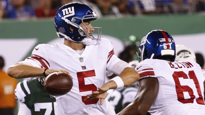 EAST RUTHERFORD, NJ – AUGUST 24: Davis Webb #5 of the New York Giants rolls out against the New York Jets during their preseason game at MetLife Stadium on August 24, 2018 in East Rutherford, New Jersey. (Photo by Jeff Zelevansky/Getty Images)
