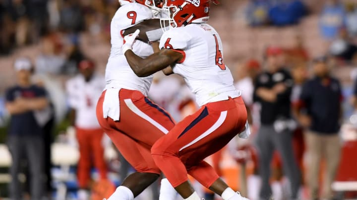 PASADENA, CA – SEPTEMBER 15: Jeff Allison #9 of the Fresno State Bulldogs makes an interception in front of Anthoula Kelly #6 during the third quarter against the UCLA Bruins at Rose Bowl on September 15, 2018 in Pasadena, California. (Photo by Harry How/Getty Images)