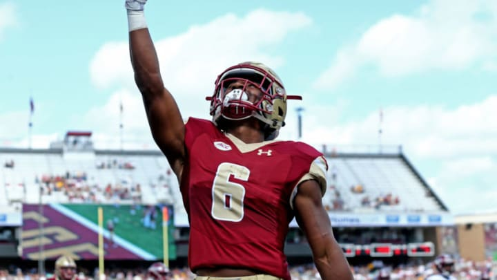 CHESTNUT HILL, MA - SEPTEMBER 29: Jeff Smith #6 of the Boston College Eagles celebrates after scoring a touchdown during the first half of the game between the Boston College Eagles and the Temple Owls at Alumni Stadium on September 29, 2018 in Chestnut Hill, Massachusetts. (Photo by Maddie Meyer/Getty Images)
