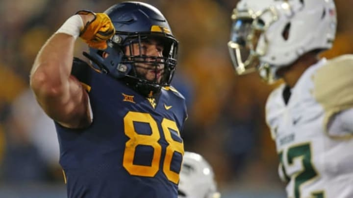 MORGANTOWN, WV – OCTOBER 25: Trevon Wesco #88 of the West Virginia Mountaineers reacts after a catch in the first half against the Baylor Bears at Mountaineer Field on October 25, 2018 in Morgantown, West Virginia. (Photo by Justin K. Aller/Getty Images)