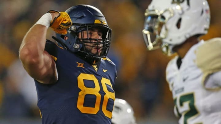 MORGANTOWN, WV - OCTOBER 25: Trevon Wesco #88 of the West Virginia Mountaineers reacts after a catch in the first half against the Baylor Bears at Mountaineer Field on October 25, 2018 in Morgantown, West Virginia. (Photo by Justin K. Aller/Getty Images)