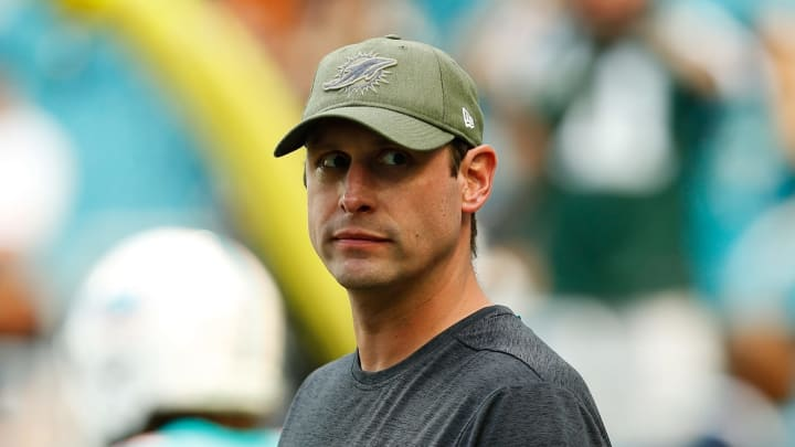 MIAMI, FL – NOVEMBER 04: Head coach Adam Gase of the Miami Dolphins looks on ahead of their game against the New York Jets at Hard Rock Stadium on November 4, 2018 in Miami, Florida. (Photo by Michael Reaves/Getty Images)