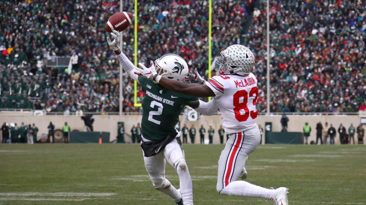 EAST LANSING, MI – NOVEMBER 10: Justin Layne #2 of the Michigan State Spartans breaks up a pass next to Terry McLaurin #83 of the Ohio State Buckeyes during the first half at Spartan Stadium on November 10, 2018 in East Lansing, Michigan. (Photo by Gregory Shamus/Getty Images)