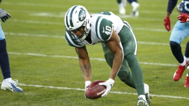 NASHVILLE, TN – DECEMBER 2: Trenton Cannon #40 of the New York Jets dives with the ball against the Tennessee Titans during the second quarter at Nissan Stadium on December 2, 2018 in Nashville, Tennessee. New York Jets (Photo by Frederick Breedon/Getty Images)