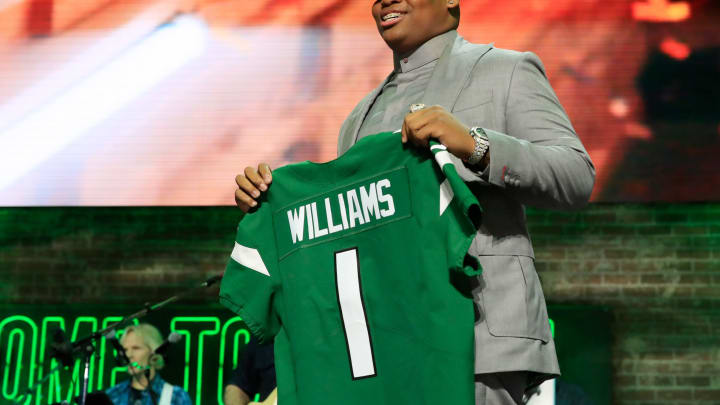 NASHVILLE, TENNESSEE – APRIL 25: Quinnen Williams of Alabama reacts after he was picked #3 overall by the New York Jets during the first round of the 2019 NFL Draft on April 25, 2019 in Nashville, Tennessee. (Photo by Andy Lyons/Getty Images)