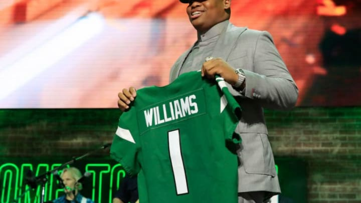 NASHVILLE, TENNESSEE - APRIL 25: Quinnen Williams of Alabama reacts after he was picked #3 overall by the New York Jets during the first round of the 2019 NFL Draft on April 25, 2019 in Nashville, Tennessee. (Photo by Andy Lyons/Getty Images)