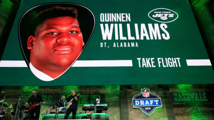 NASHVILLE, TENNESSEE - APRIL 25: A video board displays an image of Quinnen Williams of Alabama after he was picked #3 overall by the New York Jets during the first round of the 2019 NFL Draft on April 25, 2019 in Nashville, Tennessee. (Photo by Andy Lyons/Getty Images)