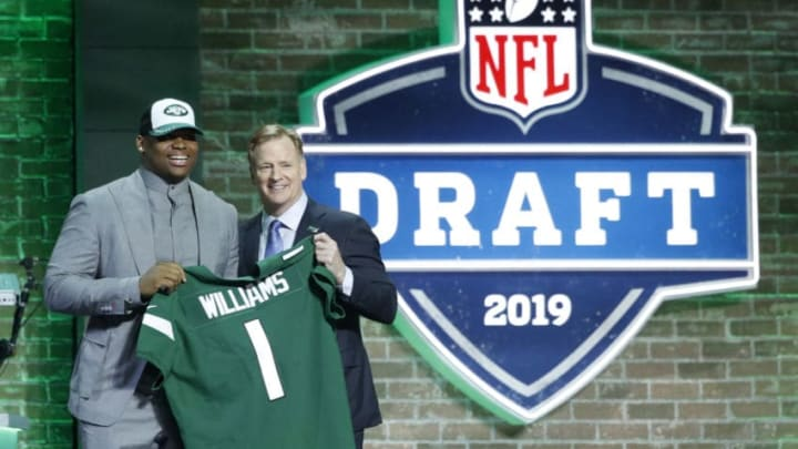 NASHVILLE, TN - APRIL 25: Quinnen Williams of Alabama with NFL commissioner Roger Goodell after being announced as the third overall pick in the first round of the NFL Draft by the New York Jets on April 25, 2019 in Nashville, Tennessee. (Photo by Joe Robbins/Getty Images)