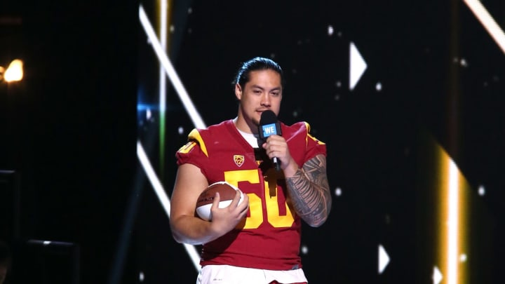 INGLEWOOD, CA – APRIL 27: USC football player Toa Lobendahn speaks onstage at WE Day California to celebrate young people changing the world at The Forum on April 27, 2017 in Inglewood, California. (Photo by Tommaso Boddi/Getty Images for WE)
