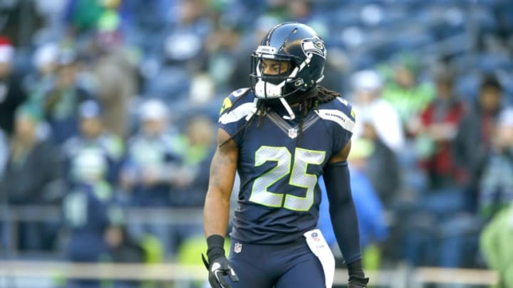 SEATTLE, WA - DECEMBER 24: Cornerback Richard Sherman #25 of the Seattle Seahawks warms up before an NFL game against the Arizona Cardinals at CenturyLink Field on December 24, 2016 in Seattle, Washington. (Photo by Otto Greule Jr/Getty Images)