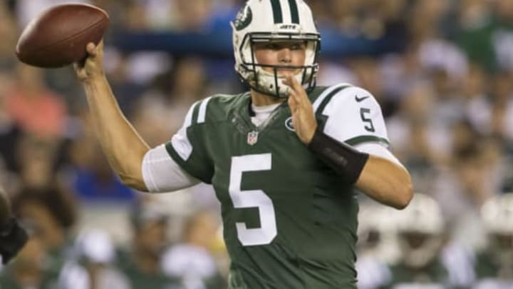 PHILADELPHIA, PA – SEPTEMBER 1: Christian Hackenberg #5 of the New York Jets throws a pass in the second quarter against the Philadelphia Eagles at Lincoln Financial Field on September 1, 2016 in Philadelphia, Pennsylvania. (Photo by Mitchell Leff/Getty Images)