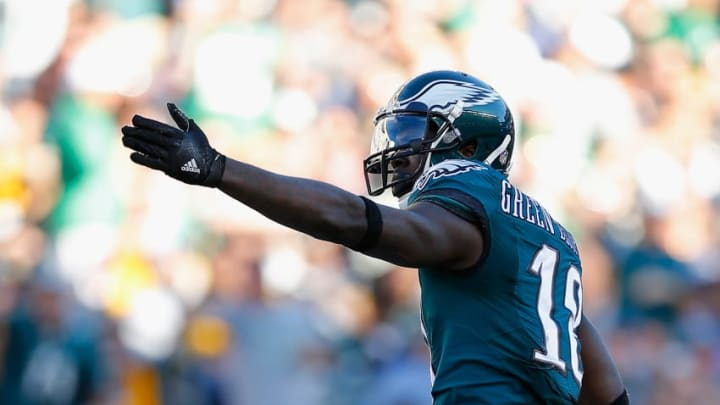 PHILADELPHIA, PA - SEPTEMBER 25: Dorial Green-Beckham #18 of the Philadelphia Eagles reacts to a first-down catch in the first quarter against the Pittsburgh Steelers at Lincoln Financial Field on September 25, 2016 in Philadelphia, Pennsylvania. (Photo by Rich Schultz/Getty Images)