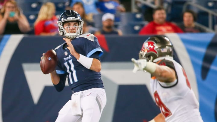 NASHVILLE, TN – AUGUST 18: Quarterback Luke Falk #11 of the Tennessee Titans drops back to pass against the Tampa Bay Buccaneers during the second half of a pre-season game at Nissan Stadium on August 18, 2018 in Nashville, Tennessee. (Photo by Frederick Breedon/Getty Images)