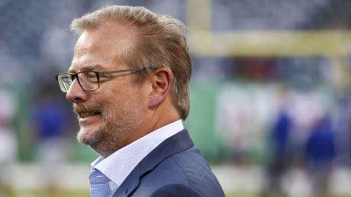 EAST RUTHERFORD, NJ - AUGUST 24: New York Jets GM Mike Maccagnan stands on the sidelines before a preseason game against the New York Giants at MetLife Stadium on August 24, 2018 in East Rutherford, New Jersey. (Photo by Jeff Zelevansky/Getty Images)