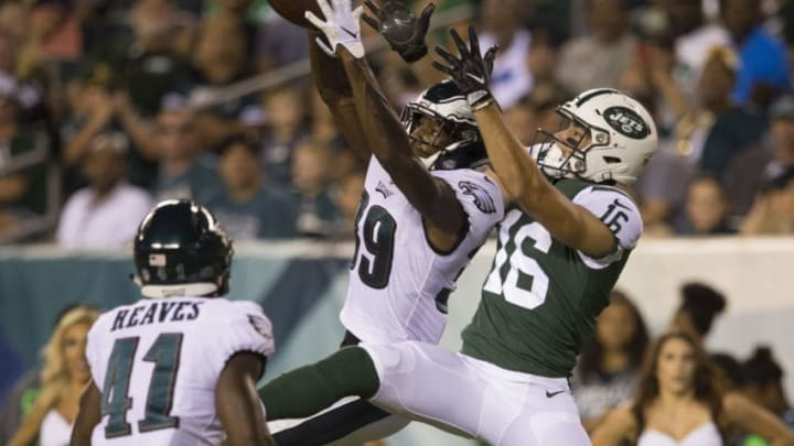 PHILADELPHIA, PA - AUGUST 30: Chandon Sullivan #39 of the Philadelphia Eagles intercepts a pass against Chad Hansen #16 of the New York Jets in the second quarter during the preseason game at Lincoln Financial Field on August 30, 2018 in Philadelphia, Pennsylvania. (Photo by Mitchell Leff/Getty Images)