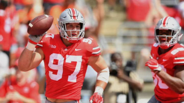 COLUMBUS, OH – SEPTEMBER 1: Nick Bosa #97 of the Ohio State Buckeyes celebrates after recovering a fumble in the end zone for a touchdown in the second quarter against the Oregon State Beavers at Ohio Stadium on September 1, 2018 in Columbus, Ohio. (Photo by Jamie Sabau/Getty Images)