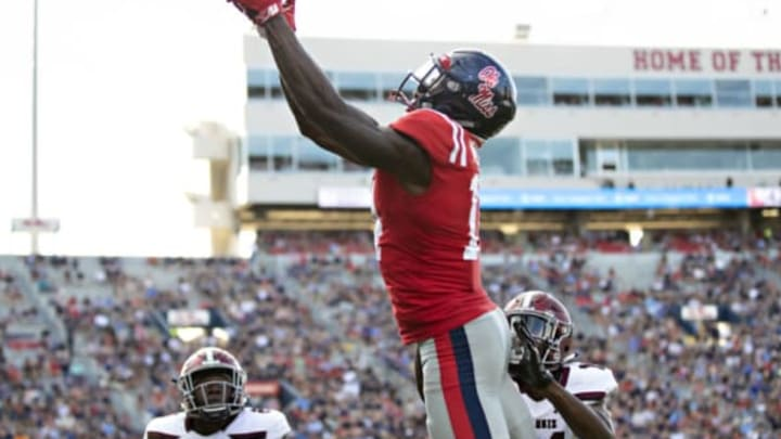 OXFORD, MS – SEPTEMBER 8: D.K. Metcalf #14 of the Mississippi Rebels catches a pass for a touchdown during a game against the Southern Illinois Salukis at Vaught-Hemingway Stadium on September 8, 2018 in Oxford, Mississippi. The Rebels defeated the Salukis 76-41. (Photo by Wesley Hitt/Getty Images)