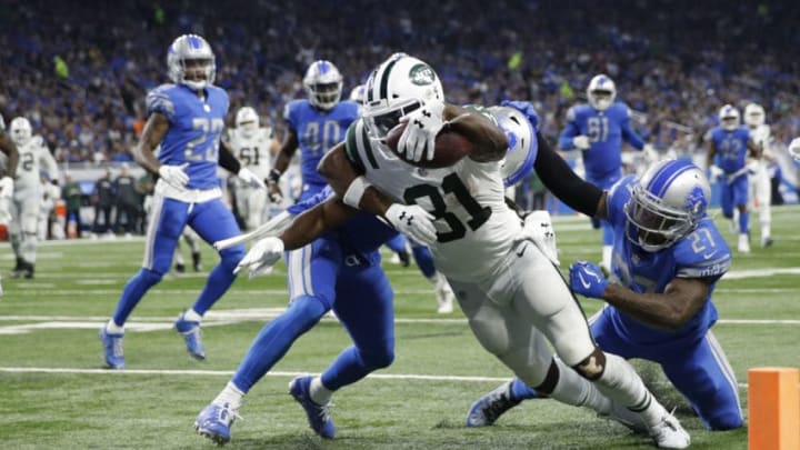 DETROIT, MI - SEPTEMBER 10: Quincy Enunwa #81 of the New York Jets scores a touchdown in the third quarter against the Detroit Lions at Ford Field on September 10, 2018 in Detroit, Michigan. (Photo by Joe Robbins/Getty Images)
