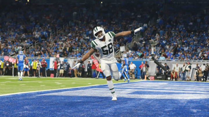 DETROIT, MI - SEPTEMBER 10: Darron Lee #58 of the New York Jets celebrates a play in the second half against the Detroit Lions at Ford Field on September 10, 2018 in Detroit, Michigan. (Photo by Rey Del Rio/Getty Images)