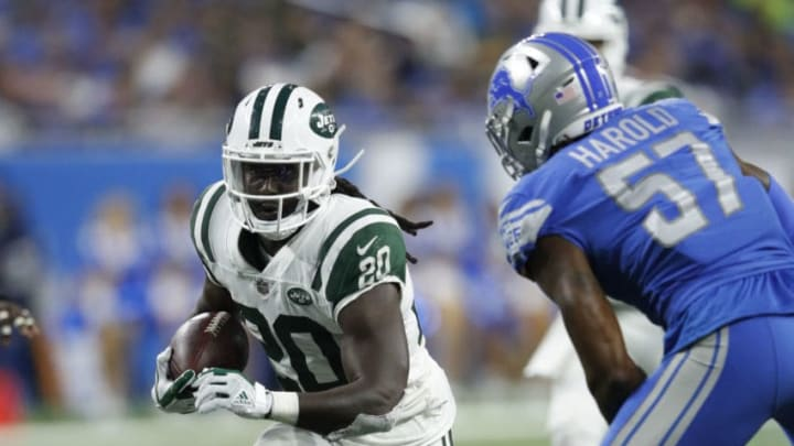 DETROIT, MI - SEPTEMBER 10: Isaiah Crowell #20 of the New York Jets runs the ball in the second half against the Detroit Lions at Ford Field on September 10, 2018 in Detroit, Michigan. The Jets won 48 to 17. (Photo by Joe Robbins/Getty Images)